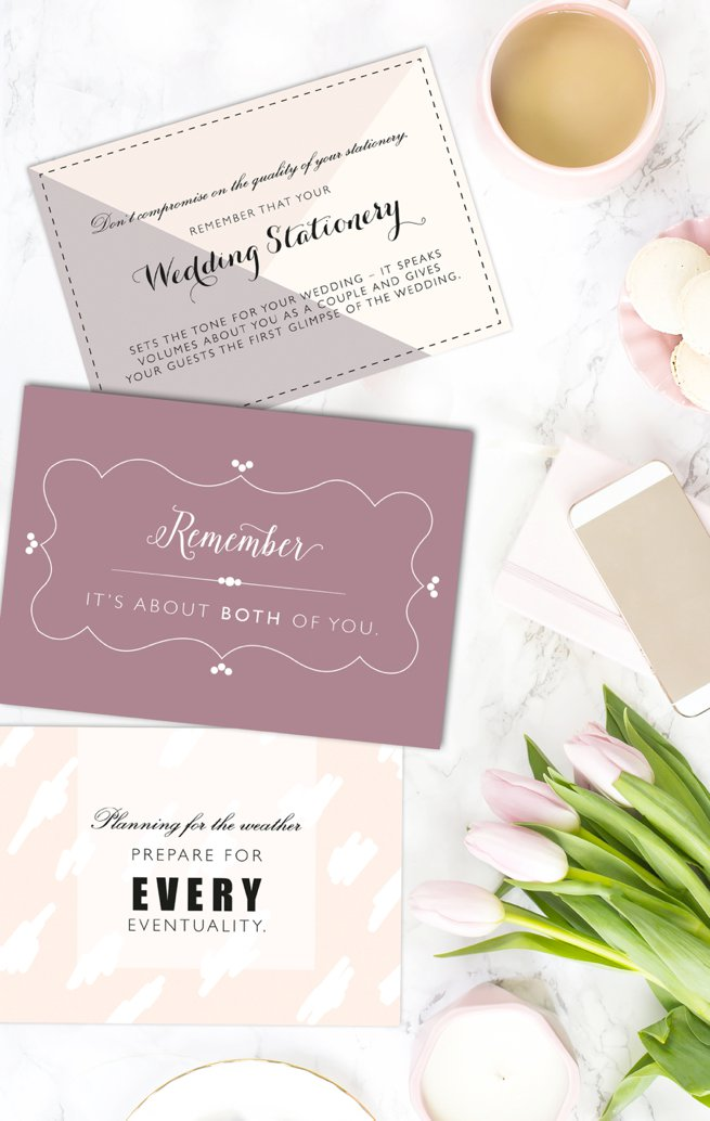 Luxury soft pink wedding advice cards | Kelly Chandler Consulting