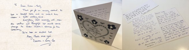 Three still shots of hand written thank you cards   Kelly Chandler Consulting