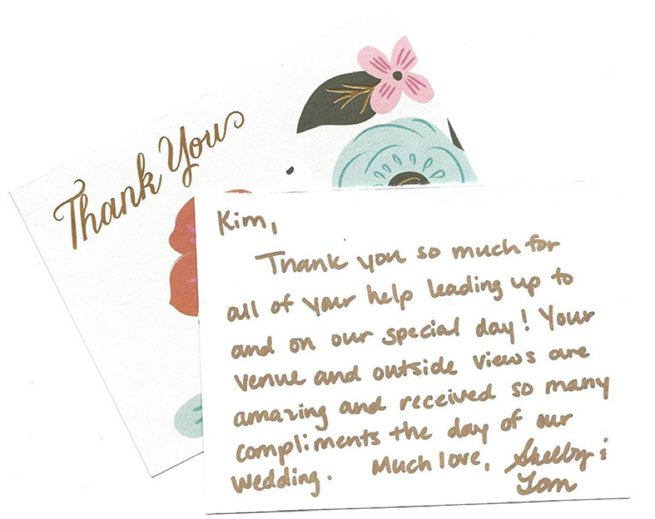 Hand written thank you card | Kelly Chandler Consulting