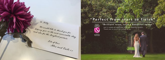 Wedding client testimonial printed onto a photo postcard   Kelly Chandler Consulting