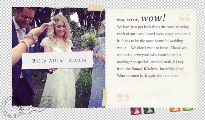 Wedding client testimonial on a designed postcard   Kelly Chandler Consulting
