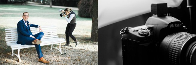 Wedding photographer and groom sitting on a bench | Kelly Chandler Consulting