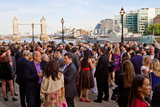 External party overlooking tower bridge | Kelly Chandler Consulting