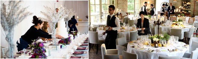 Wedding planners setting tables | Kelly Chandler Consulting