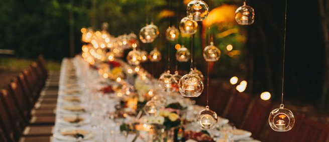 Hanging tea lights over a wedding breakfast table | Kelly Chandler Consulting