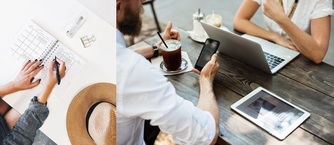 Two people sitting at a table with a laptop ipad and phone   Kelly Chandler Consulting