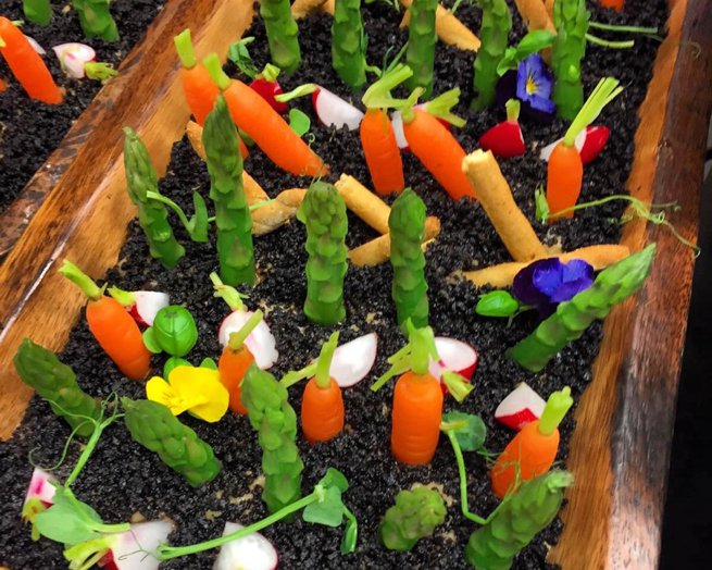 Decorative planted vegetables for a wedding breakfast serving suggestion | Kelly Chandler Consulting