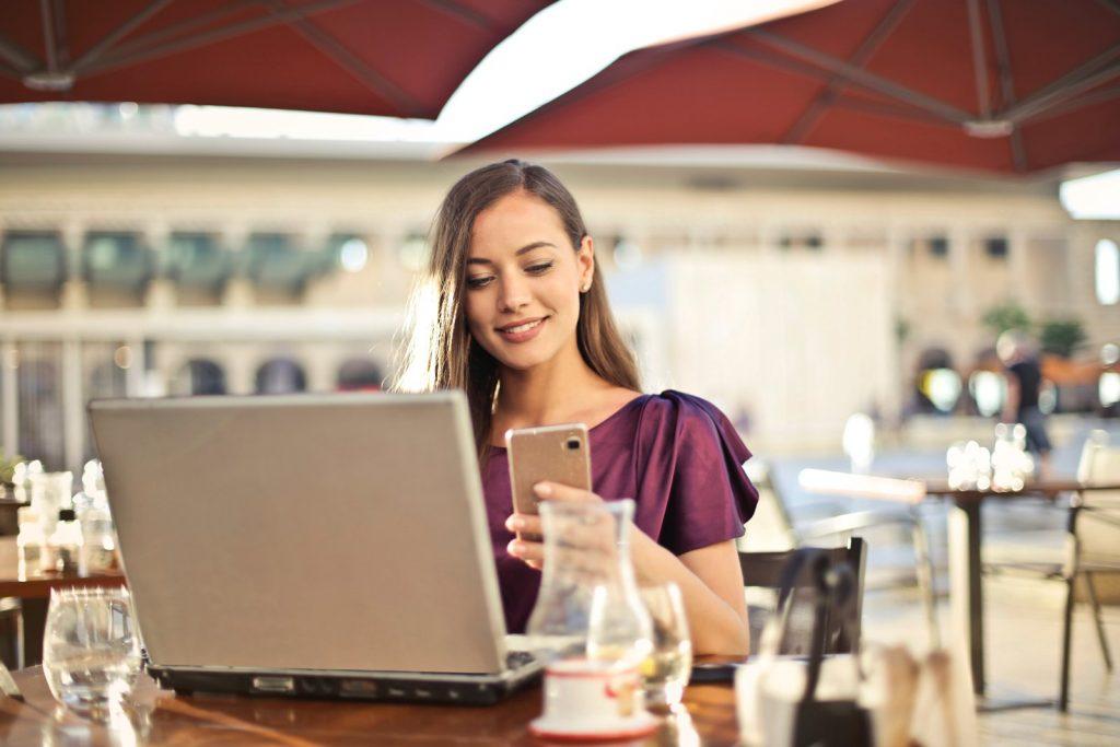 woman reading social media content