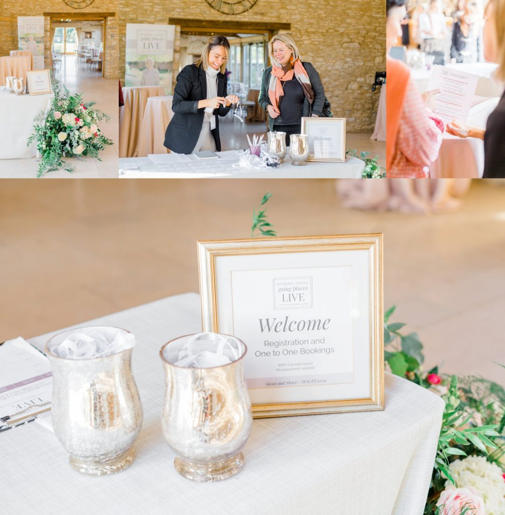 Arrivals welcome table at Wedding Spaces Going Places Live