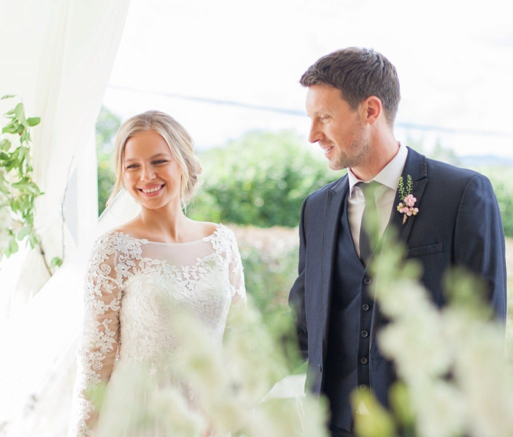 Bridal couple at Manor Hill House