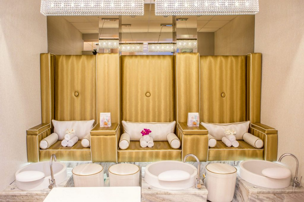 Pedicure seats in a luxurious spa