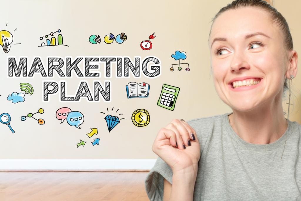 Woman smiling at words saying wedding venue marketing plan