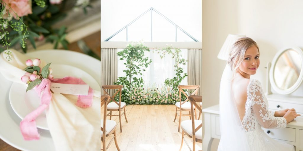 Styled wedding venue photo shoot of a bride, the alter and wedding breakfast