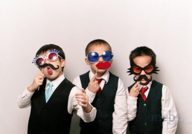 Three little boys in fancy dress glasses | Kelly Chandler Consulting